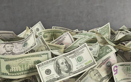 Dollar bills. 3d render on concerete wall  background Stock Images