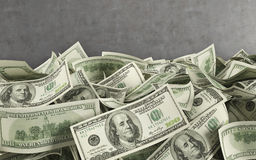 Dollar bills. 3d render on gray wall  background Royalty Free Stock Photo