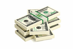 100 Dollar bills. 3D rendering of dollar bills Stock Photography