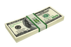 100 Dollar bills. 3D rendering of dollar bills Royalty Free Stock Photo