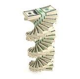 100 Dollar bills. 3D rendering of dollar bills Vector Illustration