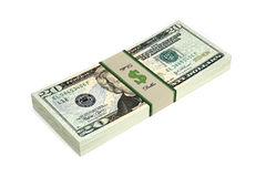 20 Dollar bills. 3D rendering of dollar bills royalty free illustration
