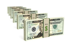 20 Dollar bills. 3D rendering of dollar bills - with DOF effect stock illustration
