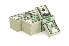100 Dollar bills. 3D rendering - piles of dollar bills Stock Photography