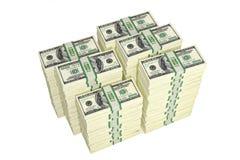 100 Dollar bills. 3D rendering - piles of dollar bills Stock Image