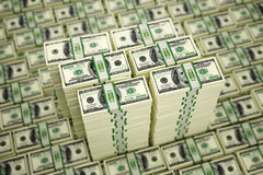 100 Dollar bills. 3D rendering - piles of dollar bills - with DOF effect Royalty Free Illustration