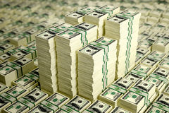 100 Dollar bills. 3D rendering - piles of dollar bills - with DOF effect vector illustration