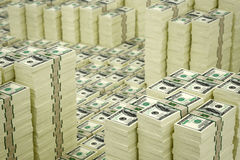 100 Dollar bills. 3D rendering - piles of dollar bills - with DOF effect Stock Illustration