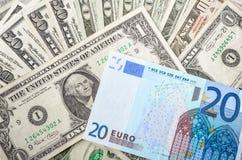 Dollar Bills and Euro Royalty Free Stock Photos