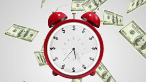 Dollar bills falling with alarm clock stock video footage