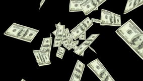 Dollar bills falling on black background stock video footage