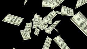 Dollar bills falling on black background