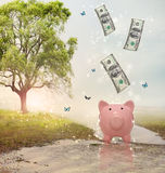 Dollar bills falling in or flying out of a piggy bank in a magical landscape. Dollar bills falling in or flying out of a pink piggy bank in a fantasy landscape Royalty Free Stock Photos