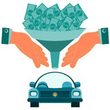 Dollar bills falling through a funnel in hand over the car. Stock Photos