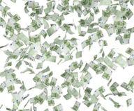 Dollar bills falling. Hundred dollar bills falling, close up Stock Image