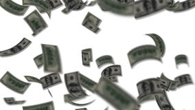 Dollar bills falling like rain stock video