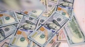 Dollar bills falling stock footage