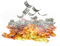Dollar Bills on Fire Royalty Free Stock Image