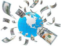 Dollar Bills Flying Around the Globe Royalty Free Stock Photography