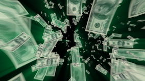 $100 Dollar Bills Flying. Away, green light rays tinted with exact green from the ink. HD 1080. v.1 stock video
