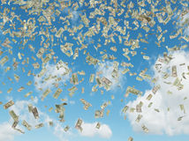 Dollar bills flying Stock Photo