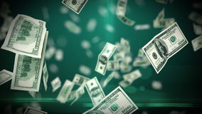 100 Dollar bills flying up in looped animation. HD 1080. DOF stock video
