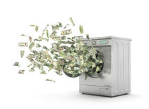 Dollar bills flying from the washing Stock Photos