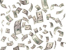 5 dollar bills flying on white background Stock Images