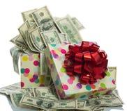 $100 dollar bills. Gift box full of $100 dollar bills. Isolated on white Royalty Free Stock Image