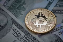 Dollar bills and gold coin bitcoin. Cryptocurrency business concept. Royalty Free Stock Photography