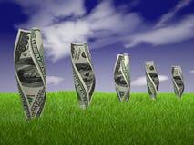 Dollar bills on grass Royalty Free Stock Image