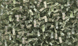 Dollar bills on the ground. 3d illustration Royalty Free Stock Photography