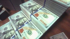 Dollar Bills Growing Bar Chart stock video footage