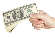 Dollar bills in hand Royalty Free Stock Images