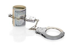 Dollar Bills With Handcuffs Stock Photo