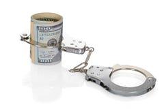 Dollar Bills With Handcuffs Stock Photo