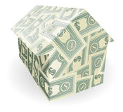 Dollar bills house Stock Image