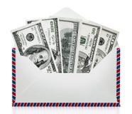 100 and 50 dollar bills inside enveloppe. 3D illustration.  Royalty Free Stock Images