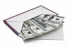 100 and 50 dollar bills inside enveloppe. 3D illustration.  Stock Photography