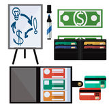 Dollar bills, laptop, leather wallet Royalty Free Stock Photography