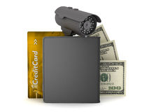 Dollar bills, leather wallet, credit card and video surveillance Stock Image