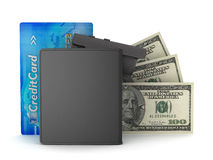 Dollar bills, leather wallet, credit card and video surveillance Royalty Free Stock Photography