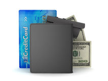 Dollar bills, leather wallet, credit card and video surveillance Royalty Free Stock Images