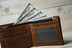 Dollar bills and leather wallet Stock Photography