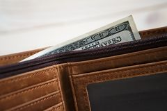 Dollar bills and leather wallet Royalty Free Stock Image