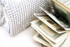 Dollar bills with luxury handbag Stock Images