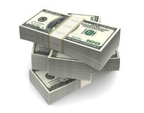 Dollar  Bills Packs (with clipping path) Stock Images