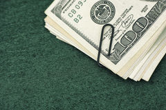 Dollar bills with paperclip Royalty Free Stock Photo
