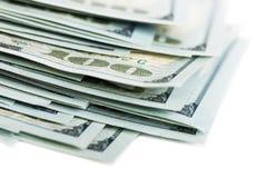 100 dollar bills. Pile of 100 dollars bills on white background Stock Photography