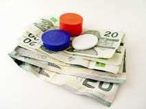 Dollar Bills and Poker Chips Stock Photos